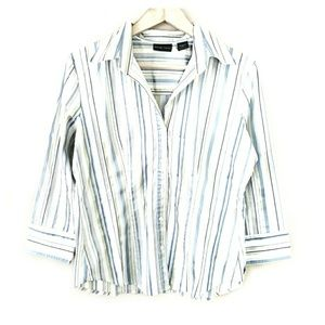 3/$30 // Striped Button Down Casual Fitted Blouse